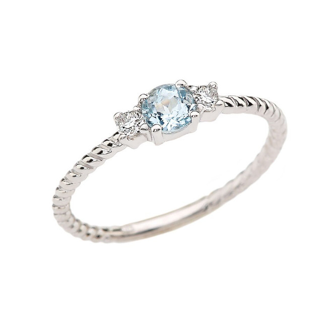 White Gold Dainty Solitaire Aquamarine and White Topaz Rope Design Promise/Stackable Ring