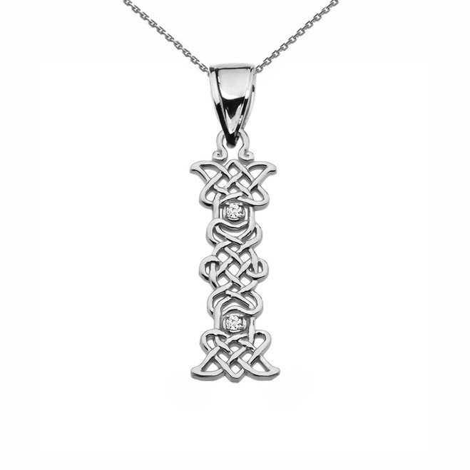 """I"" Initial In Celtic Knot Pattern White Gold Pendant Necklace With Diamond"