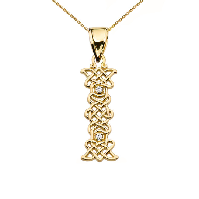 """""""I"""" Initial In Celtic Knot Pattern Yellow Gold Pendant Necklace With Diamond"""