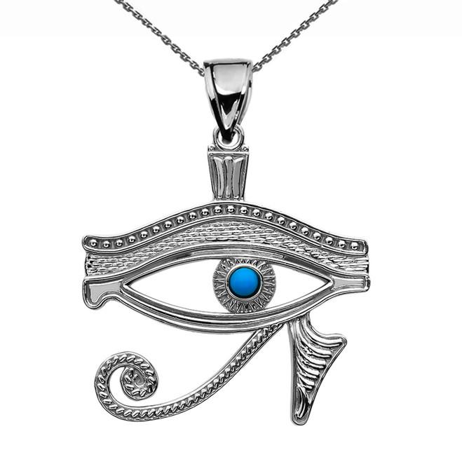 Eye of Horus White Gold Turquoise Pendant Necklace
