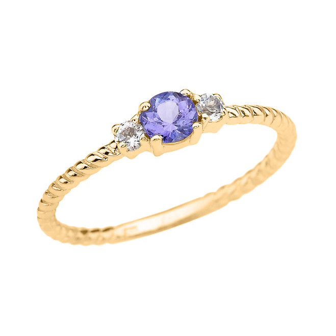 Yellow Gold Dainty Solitaire Tanzanite and White Topaz Rope Design Promise/Stackable Ring
