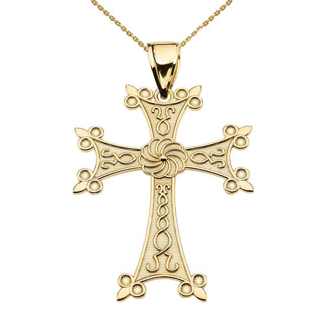 """Eternity Armenian Cross """"Khachkar"""" Yellow Gold Pendant Necklace (Medium)"""