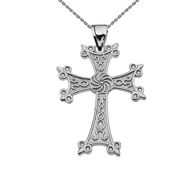 "Eternity Armenian Cross ""Khachkar"" Sterling Silver Pendant Necklace (Small)"