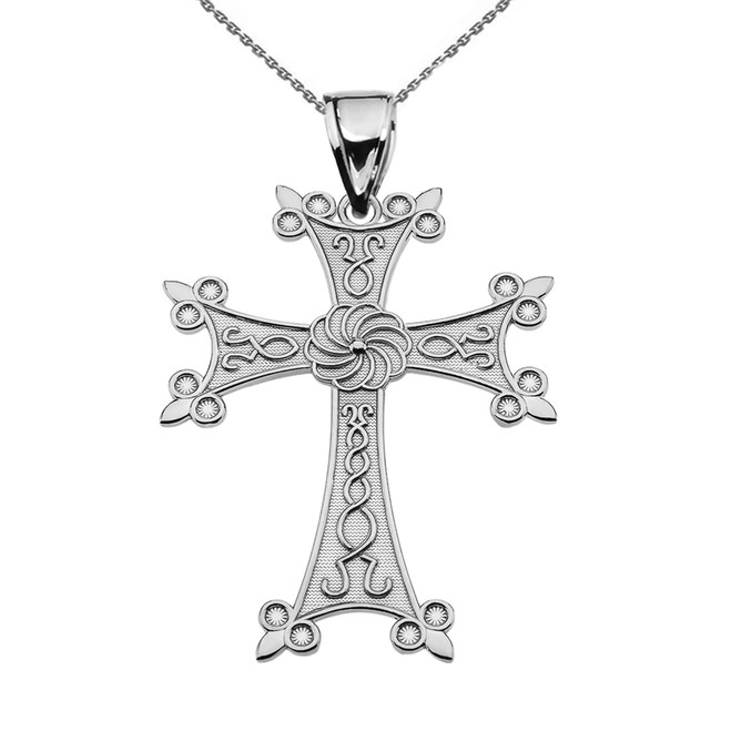 "Eternity Armenian Cross ""Khachkar"" Sterling Silver  Pendant Necklace (Medium)"