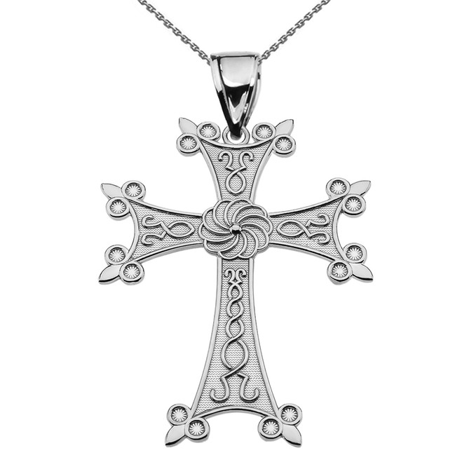 "Eternity Armenian Cross ""Khachkar"" Sterling Silver Pendant Necklace (Large)"