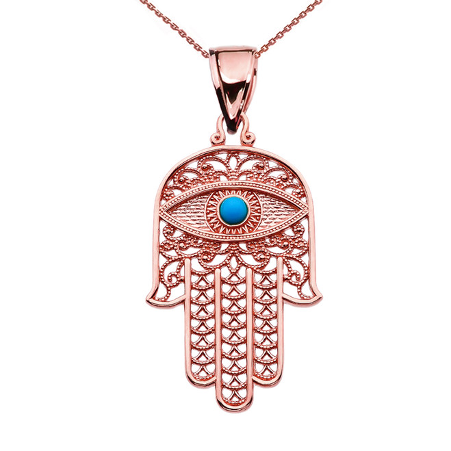 Turquoise Evil Eye Hamsa Hand Rose Gold Pendant Necklace