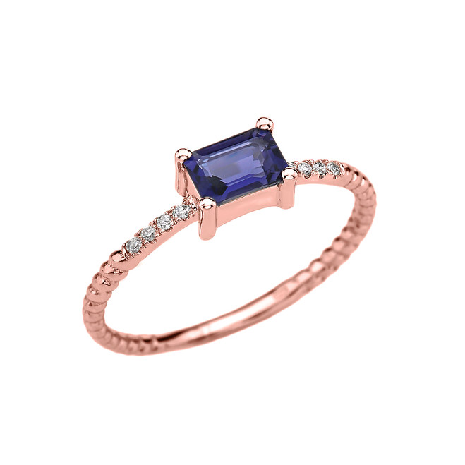 Dainty Rose Gold Solitaire Emerald Cut Iolite and Diamond Rope Design Engagement/Promise Ring