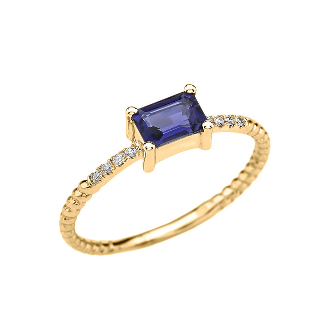 Dainty Yellow Gold Solitaire Emerald Cut Iolite and Diamond Rope Design Engagement/Promise Ring