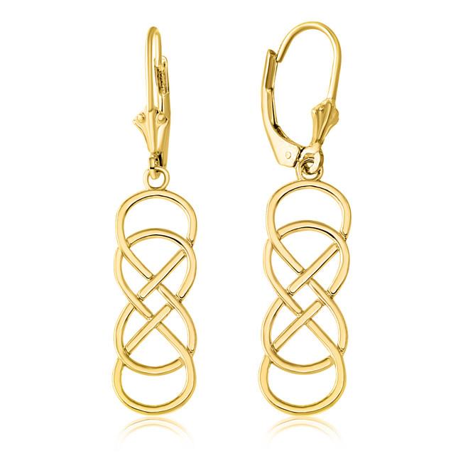Yellow Gold Double Infinity Earring Set