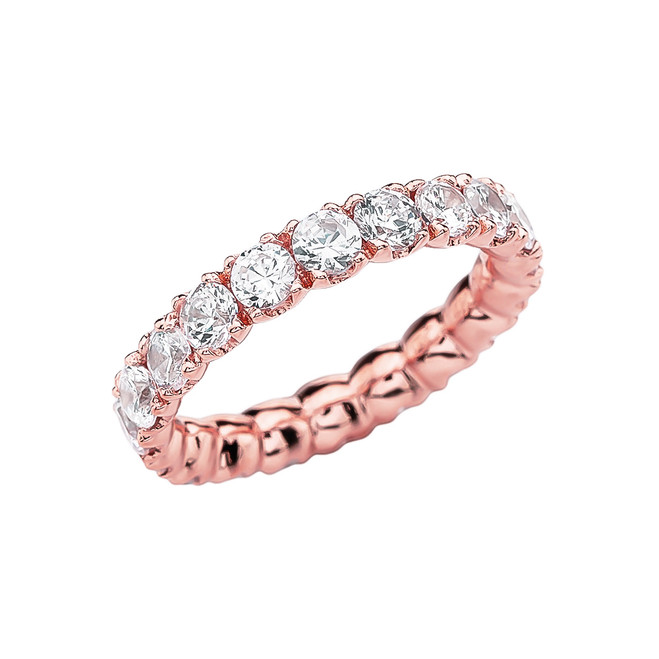 Rose Gold 4.5-5 Carat CZ Eternity Wedding Band