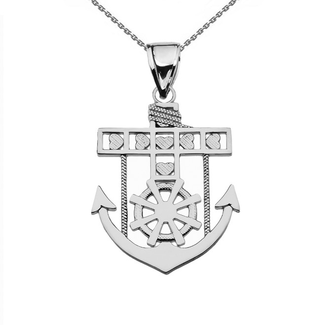 Sterling Silver Mariner Anchor Pendant Necklace