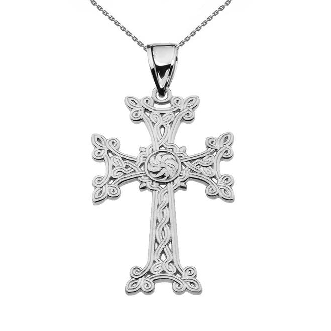 "Eternity ""Khachkar"" Armenian Cross White Gold Pendant Necklace (Medium)"