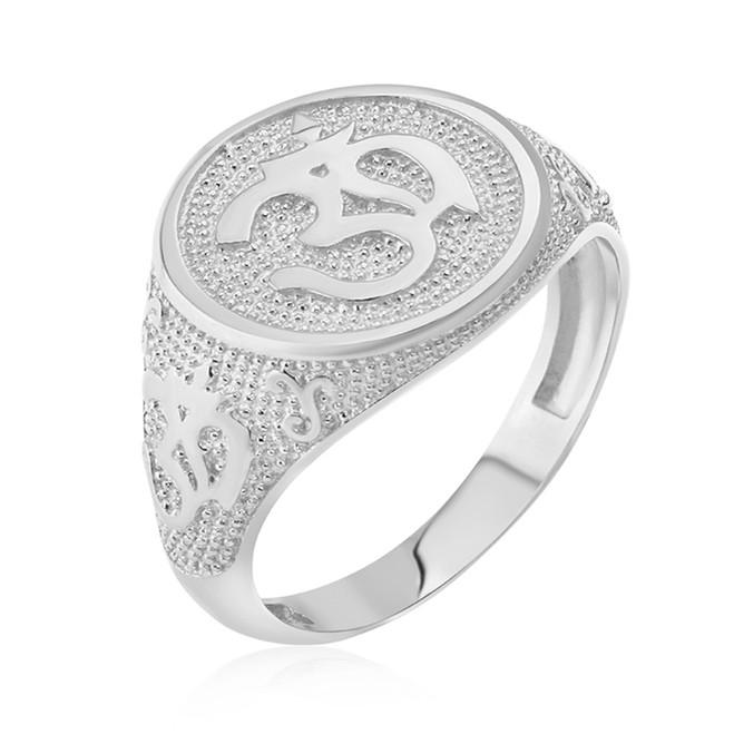 White Gold Om Symbol Harmony Men's Ring