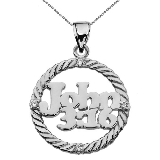 Sterling Silver John 3:16 Cubic Zirconia Rope Design Pendant Necklace