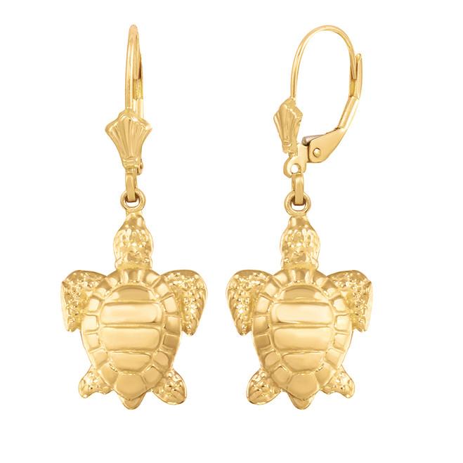 Yellow Gold Sea Turtle Earring Set (small)