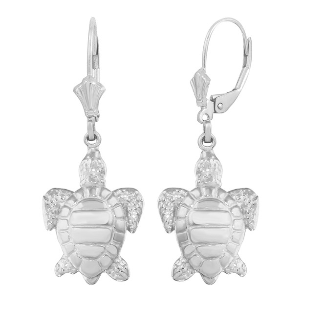 14K White Gold Sea Turtle Earring Set (small)