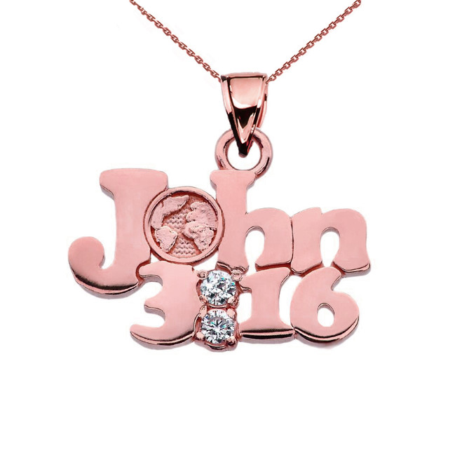 Rose Gold John 3:16 Cubic Zirconia Pendant Necklace