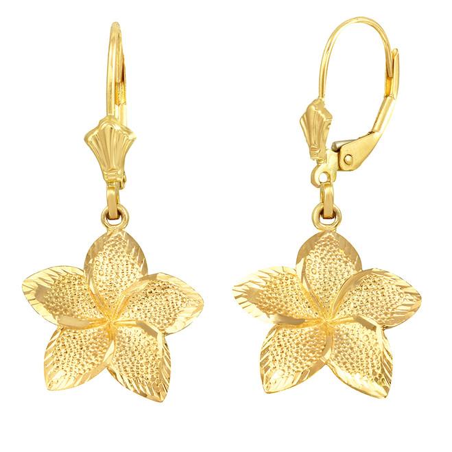 Yellow Gold Five Petal Textured Plumeria Flower Earring Set  (Large)