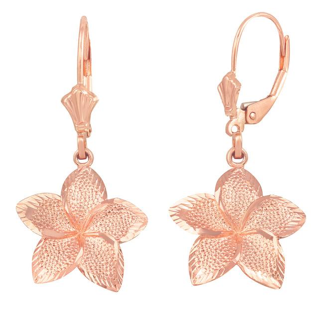 14K Rose Gold Five Petal Textured Plumeria Flower Earring Set  (Large)