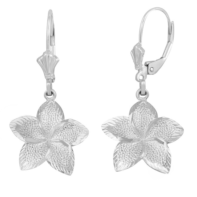 Sterling Silver Five Petal Textured Plumeria Flower Earring Set  (Large)