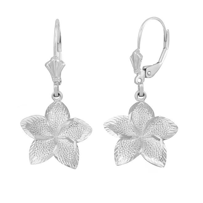14K White Gold Five Petal Textured Plumeria Flower Earring Set  (Medium)