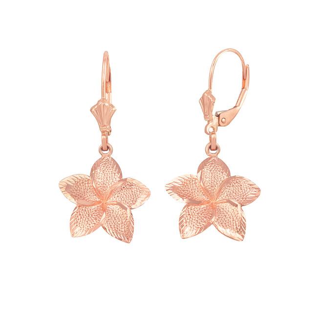 14K Rose Gold Five Petal Textured Plumeria Flower Earring Set  (Small)