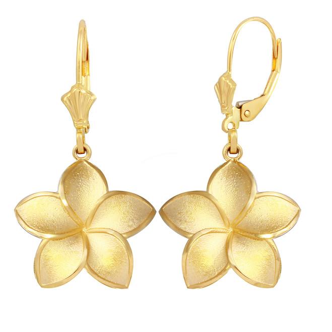 Yellow Gold Five Petal Diamond Cut Plumeria Flower Matte Earring Set  (Large)