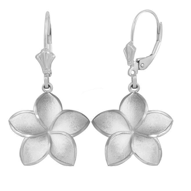 Sterling Silver Five Petal Diamond Cut Plumeria Flower Matte Earring Set  (Large)