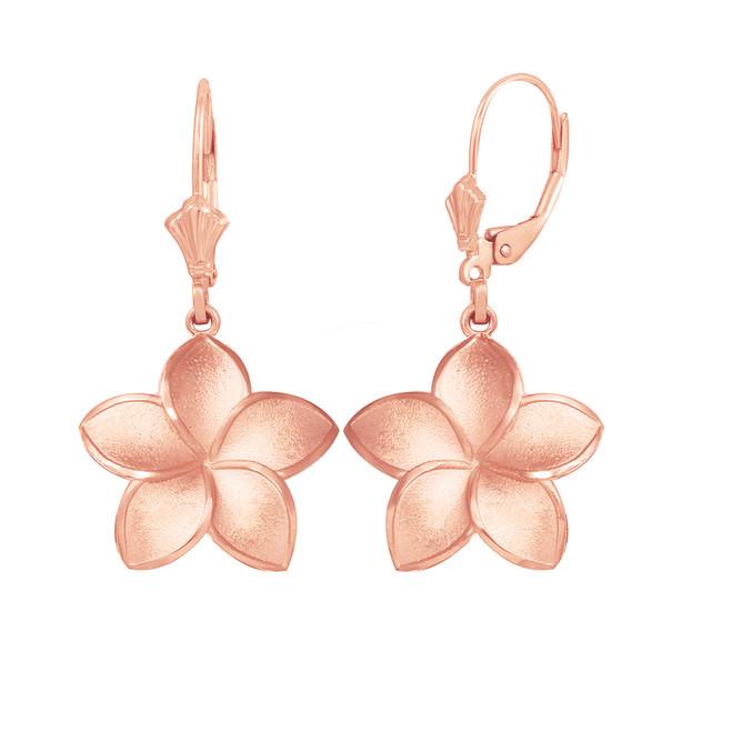 14K Rose Gold Five Petal Diamond Cut Plumeria Flower Matte Earring Set  (Medium)