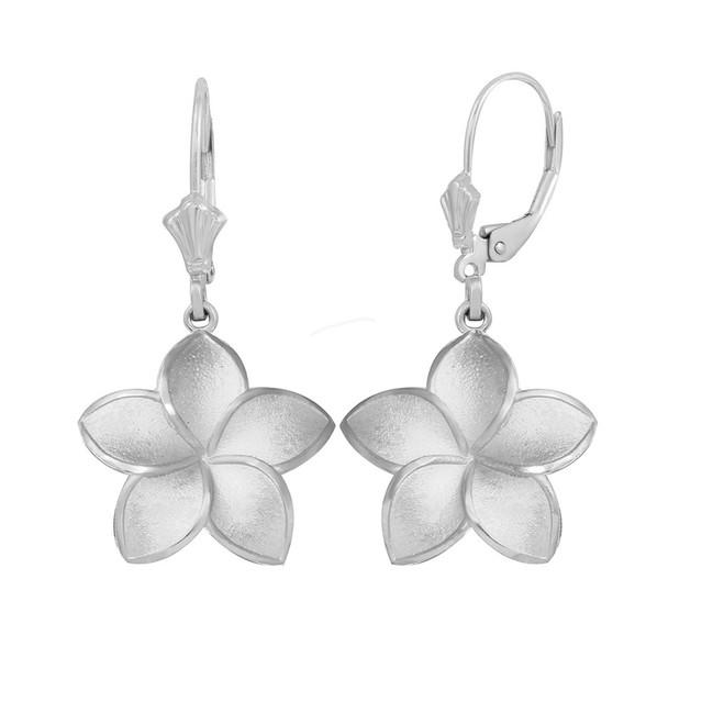 14K White Gold Five Petal Diamond Cut Plumeria Flower Matte Earring Set  (Medium)