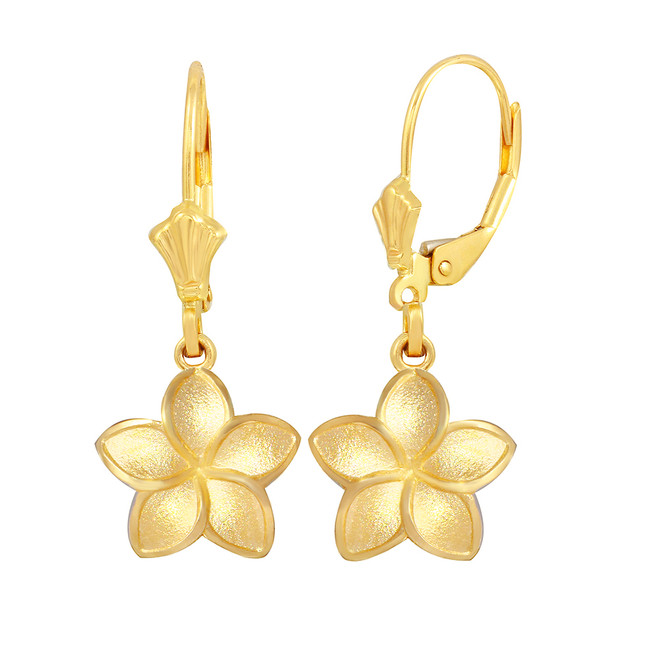 Yellow Gold Five Petal Diamond Cut Plumeria Flower Matte Earring Set  (Small)