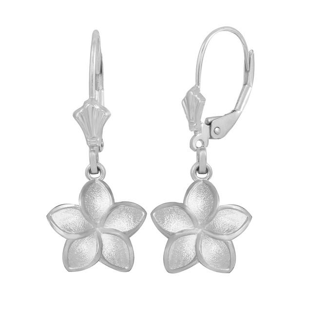 Sterling Silver Five Petal Diamond Cut Plumeria Flower Matte Earring Set  (Small)