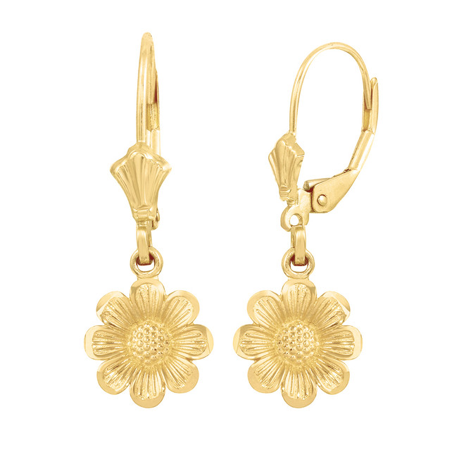 Yellow Gold Sunflower Diamond Cut Earring Set