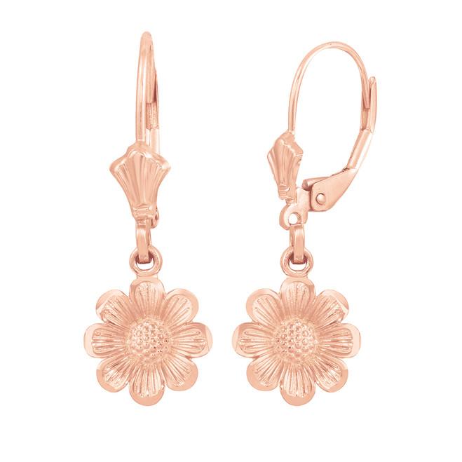 14K Rose Gold Sunflower Diamond Cut Earring Set