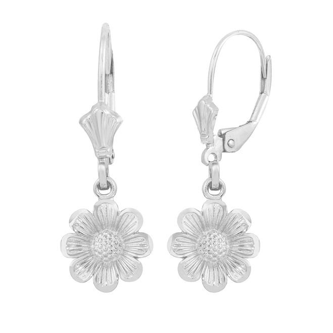 Sterling Silver Sunflower Diamond Cut Earring Set