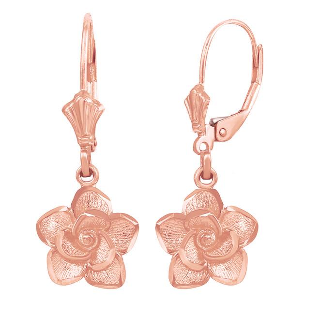 14K Rose  Gold Rose Flower Diamond Cut Earring Set