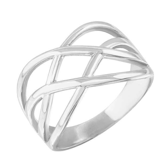 White Gold Celtic Knot Wide Band Women's Ring