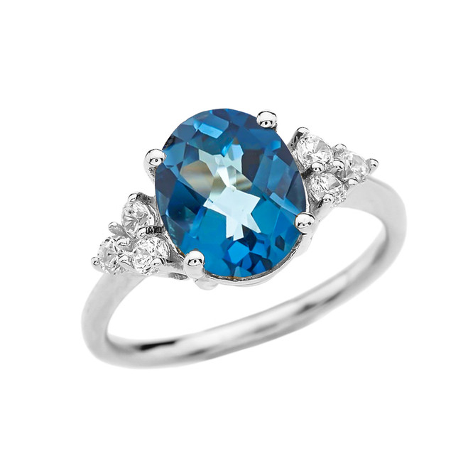 3 Carat Blue Topaz Solitaire White Gold Modern Proposal/Promise Ring With White Topaz Sidestones