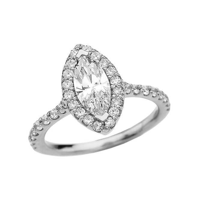 1.5 Carat Cubic Zirconia Marquise Solitaire Elegant White Gold Engagement Proposal Ring