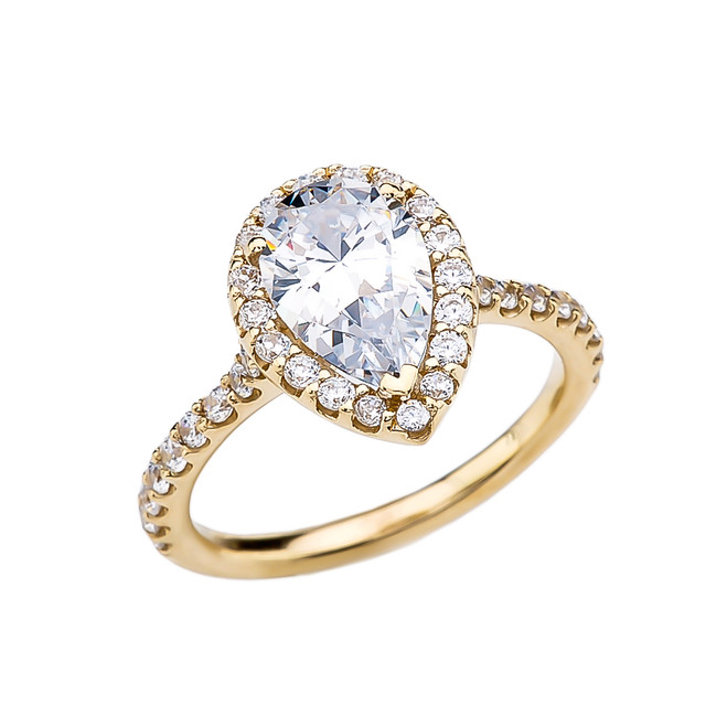 3 Carat Cubic Zirconia Pear Shape Solitaire Elegant Yellow Gold Engagement Proposal Ring