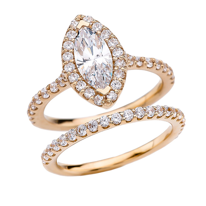 Cubic Zirconia Marquise Solitaire Elegant Yellow Gold Engagement Wedding Ring Set