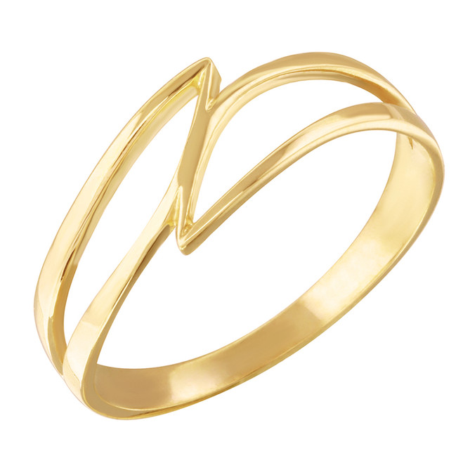 Yellow Gold Double Swish Outline Openwork Minimal Women's Ring