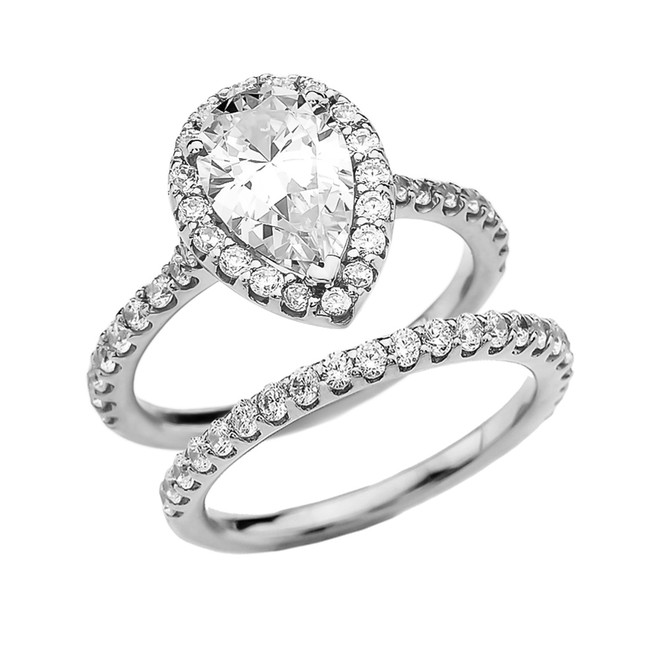 Pear Shape Solitaire Elegant White Gold Cubic Zirconia Engagement Wedding Ring Set