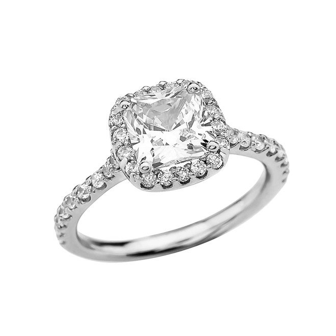 Cushion Shape Solitaire Elegant White Gold 3 Carat Cubic Zirconia Engagement Proposal Ring