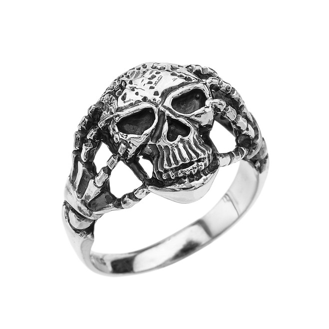 Sterling Silver Skeletal Hands Skull Ring