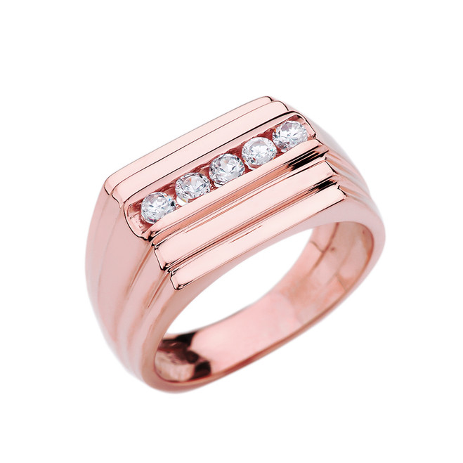 Rose Gold Channel Set 0.5 Carat Diamond Men's Ring