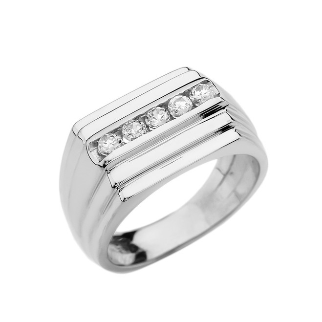 White Gold Channel Set 0.5 Carat Diamond Men's Ring