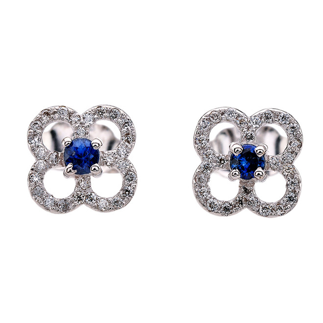 Diamond and Sapphire 4 Leaf Clover White Gold Stud Earrings