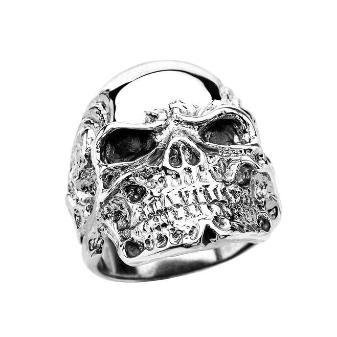 Sterling Silver Intimidating Skull Wide Cast Ring