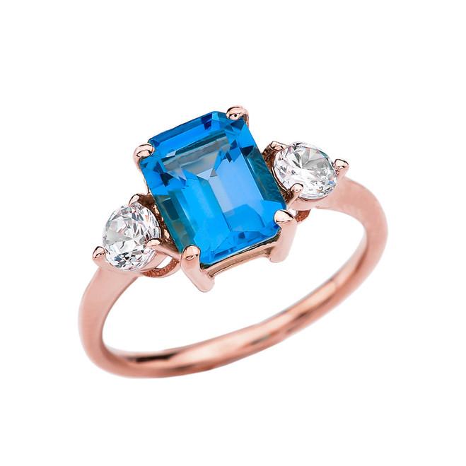Rose Gold 2.5 Carat Blue Topaz Modern Ring With White Topaz Side-stones